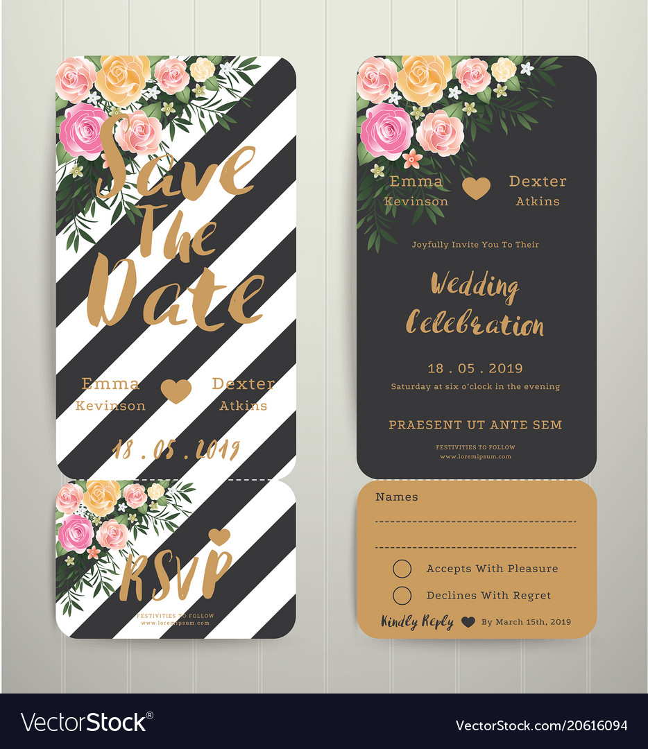 Modern wedding invitation black and white stripes vector image