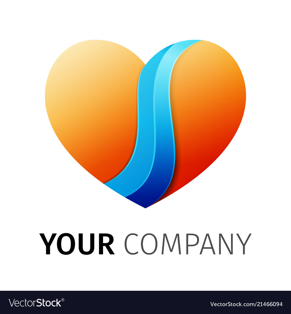 Orange and blue heart logo design ribbon