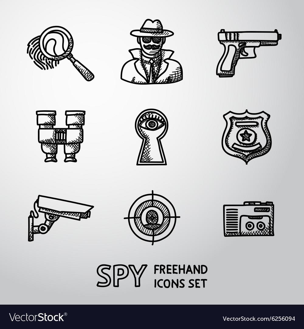 Set of Spy handdrawn icons - fingerprint spy gun