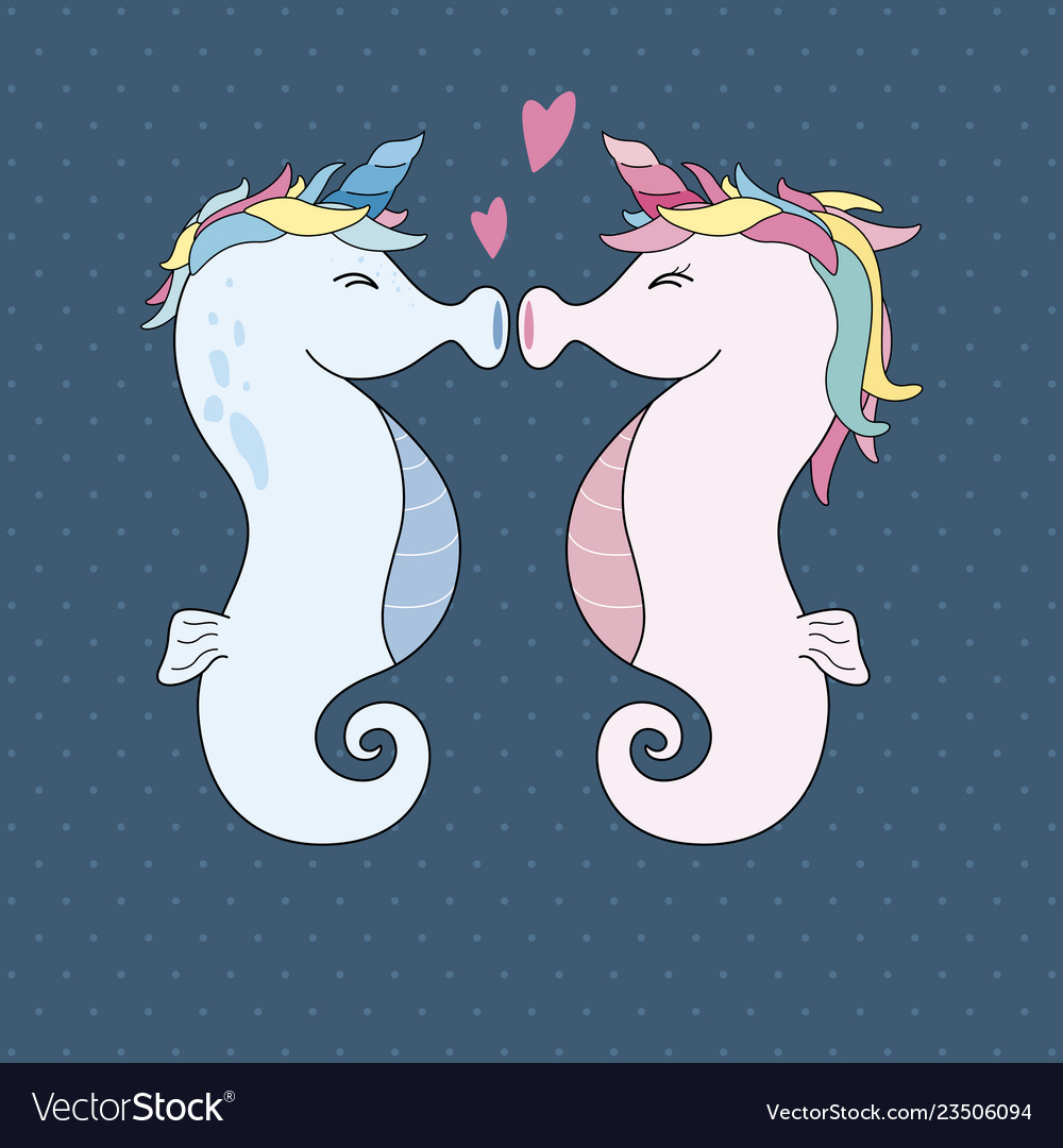 Unicorn seahorses kissing with heart