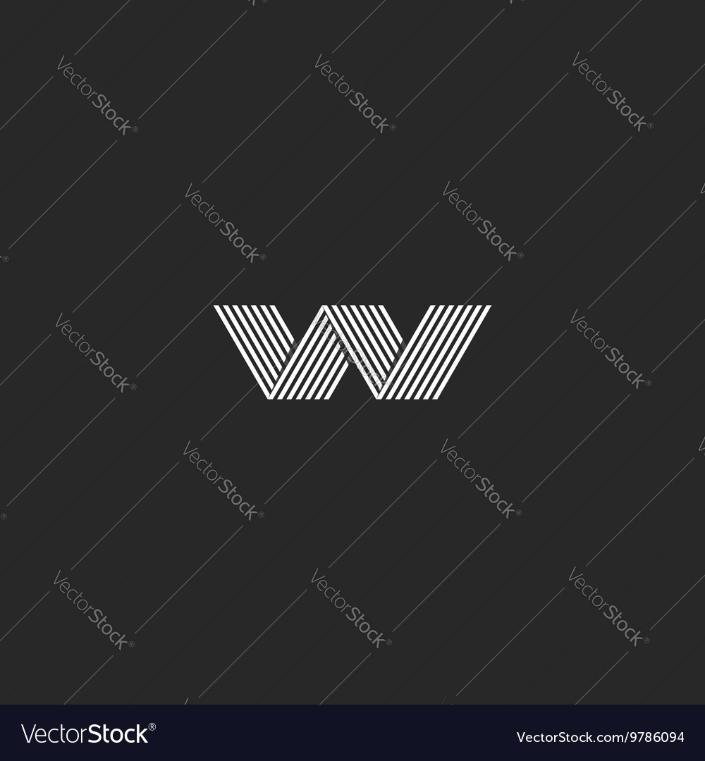 W logo hipster monogram abstract lines shape vector image