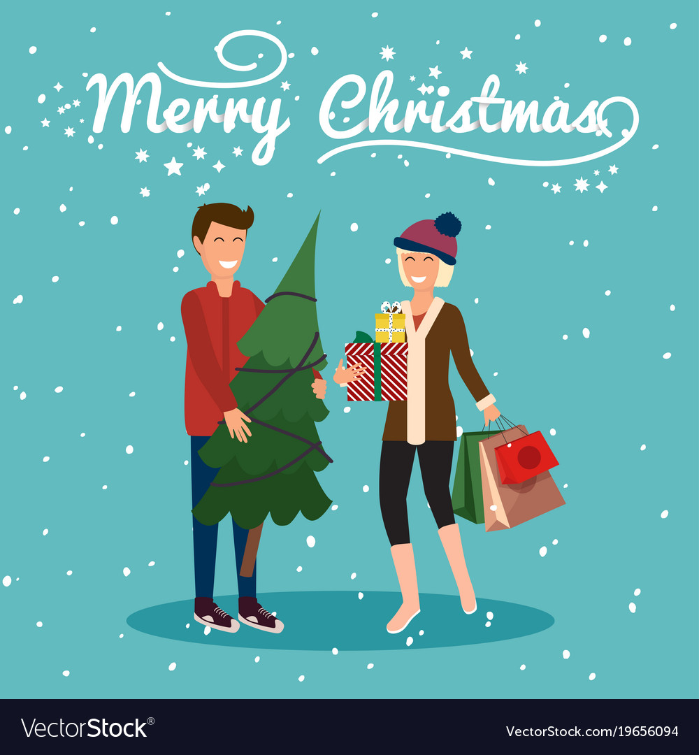 young couple holding christmas tree and gifts get vector image