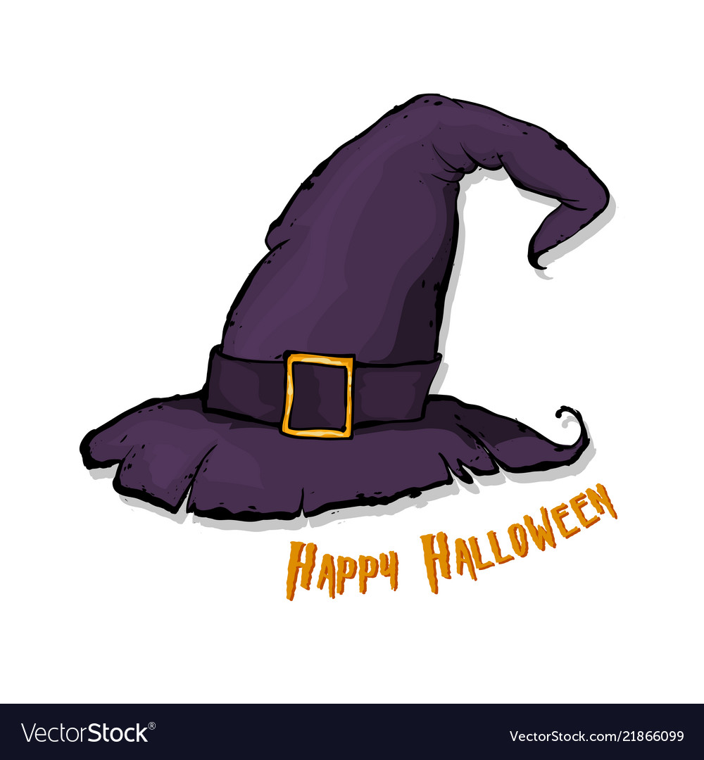 11a4f39ece8 An of a cartoon halloween witch hat happy Vector Image