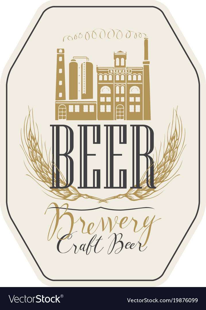 Beer label with brewery building and ears of wheat