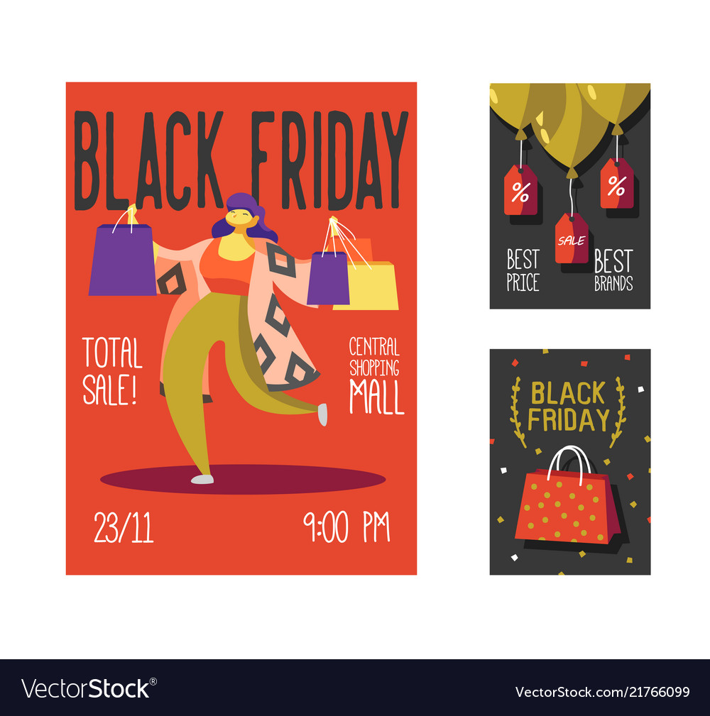 Black friday sale poster flyer placard shopping