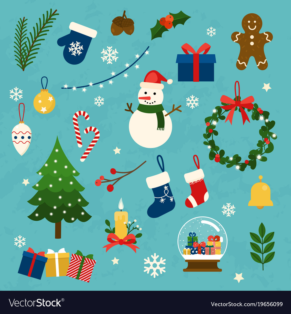 Collection of christmas items elements and