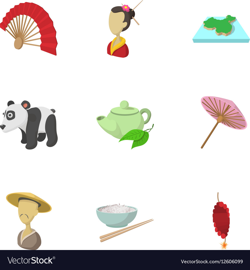 Country of China icons set cartoon style vector image