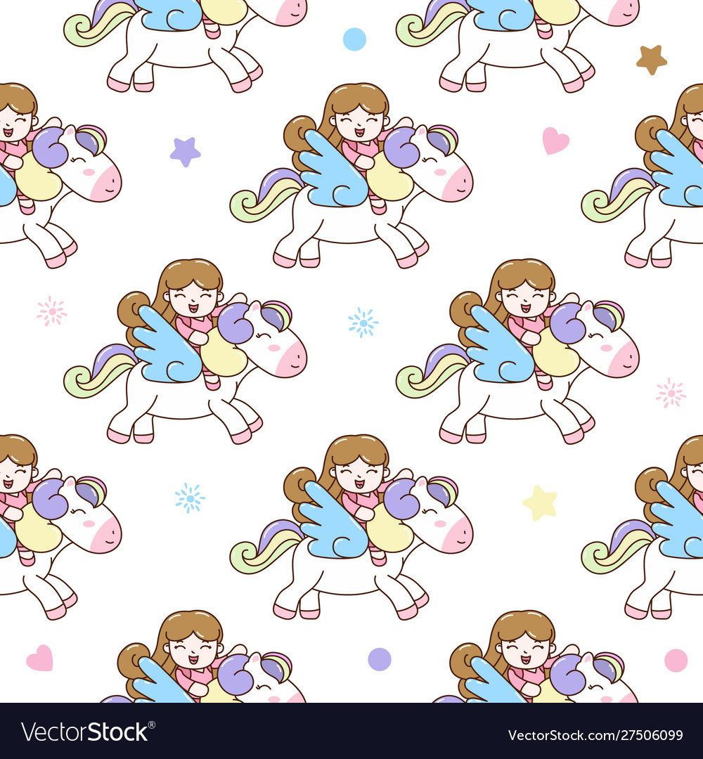 Cute girl with pegasus seamless pattern