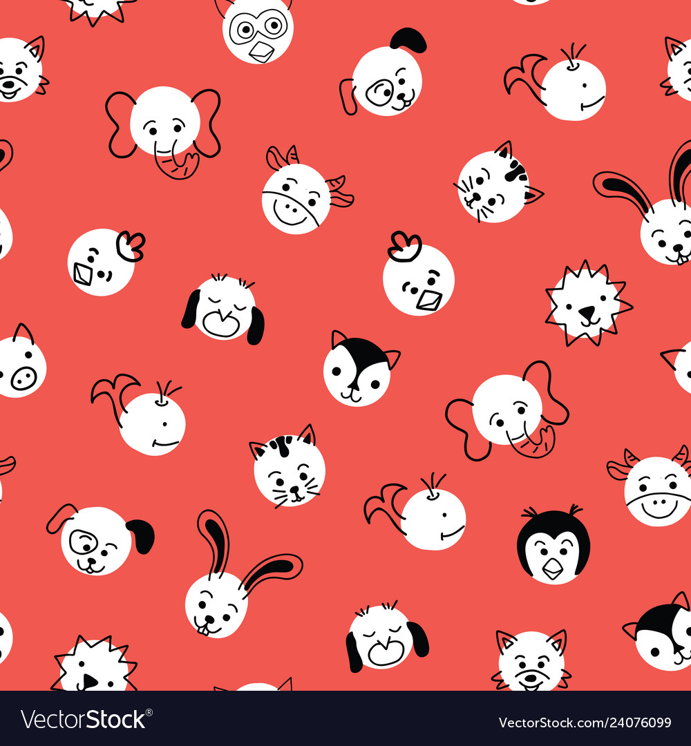 Cute kids doodle animal polka dots seamless