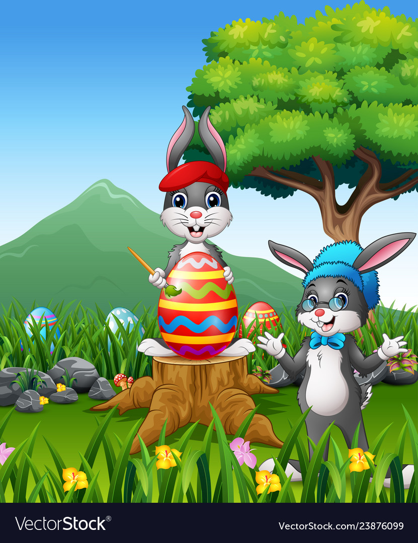 Easter backround with bunnies and big easter egg