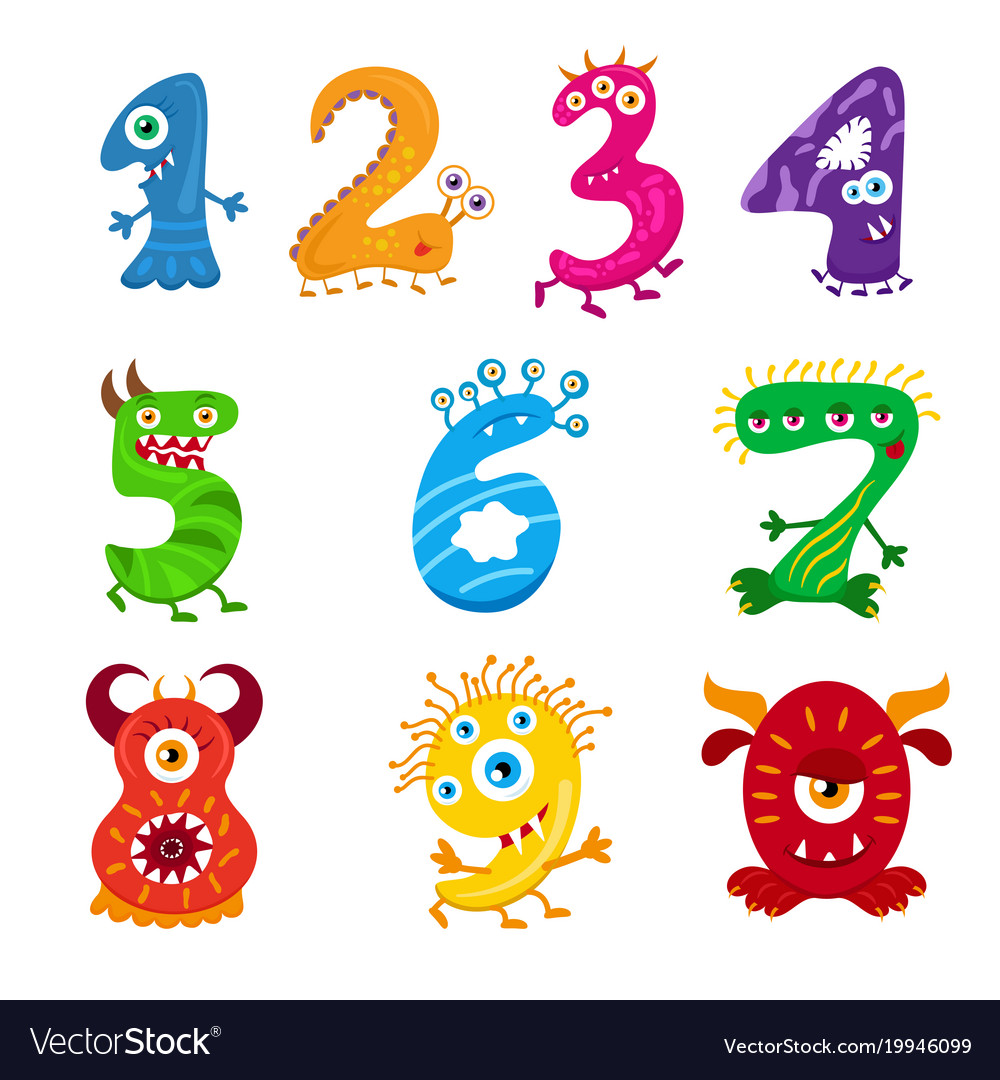 funny cartoon numbers monster set collection vector image