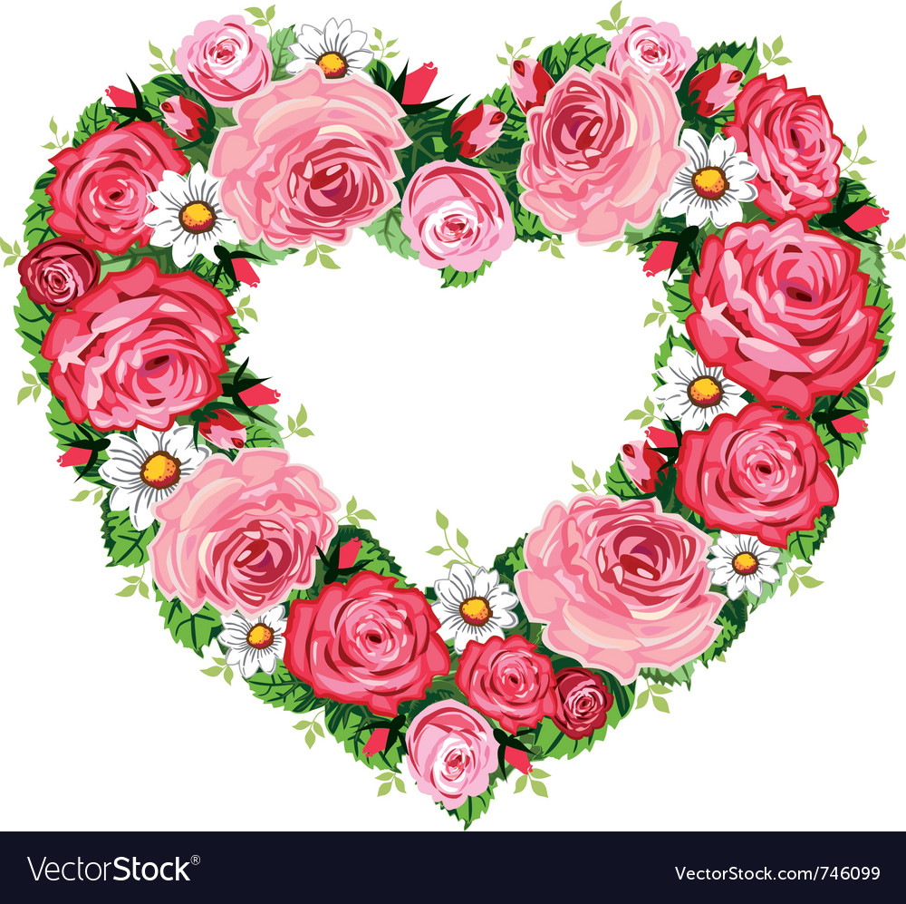 Heart Roses Frame Royalty Free Vector Image Vectorstock