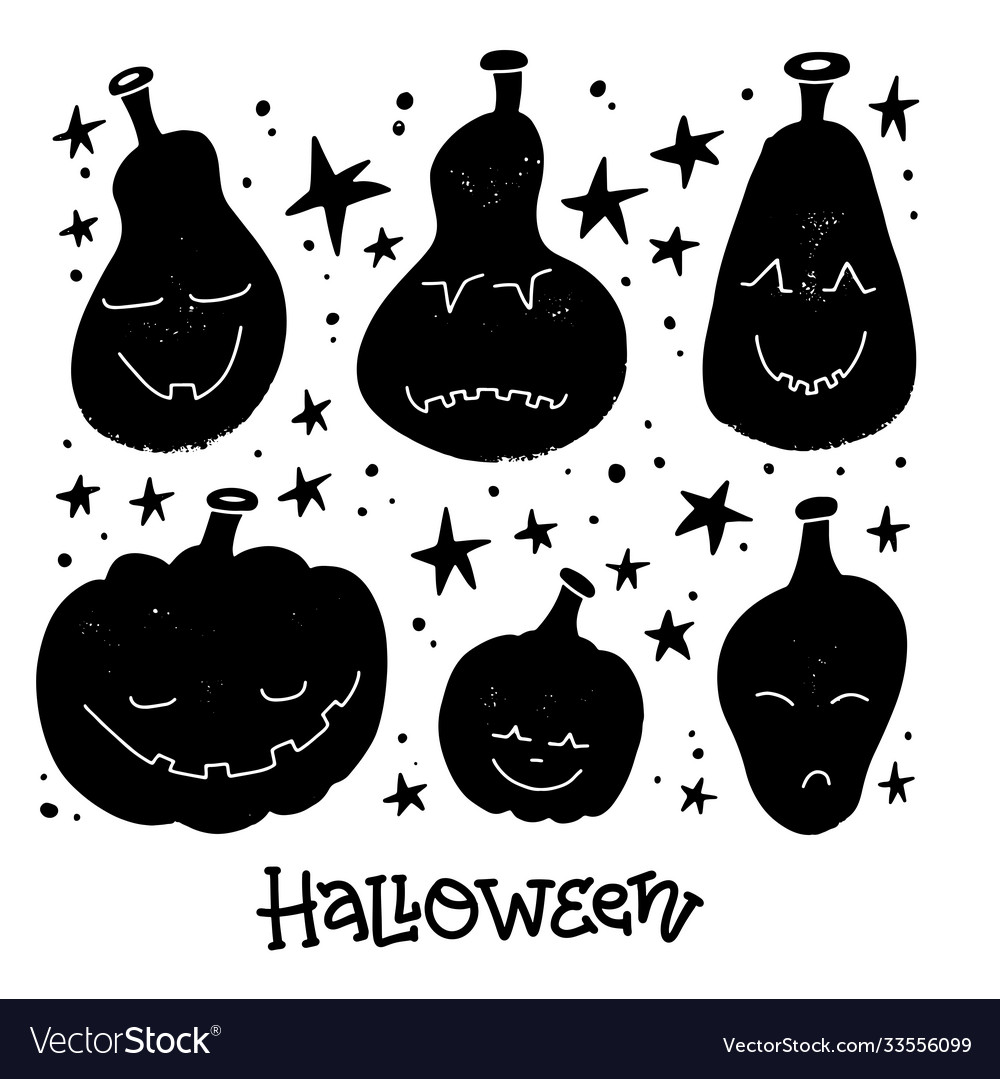 Jack-o-lanterns greeting card with lettering