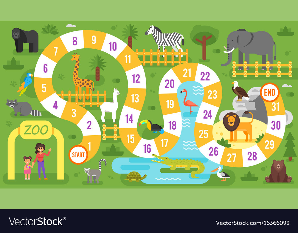 Kids zoo animals board game template
