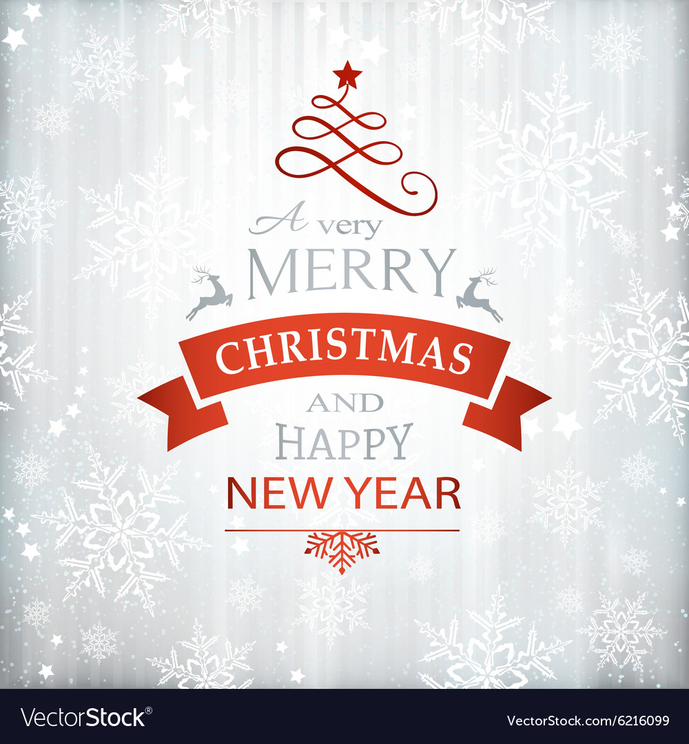 Red silver Christmas typography vector image