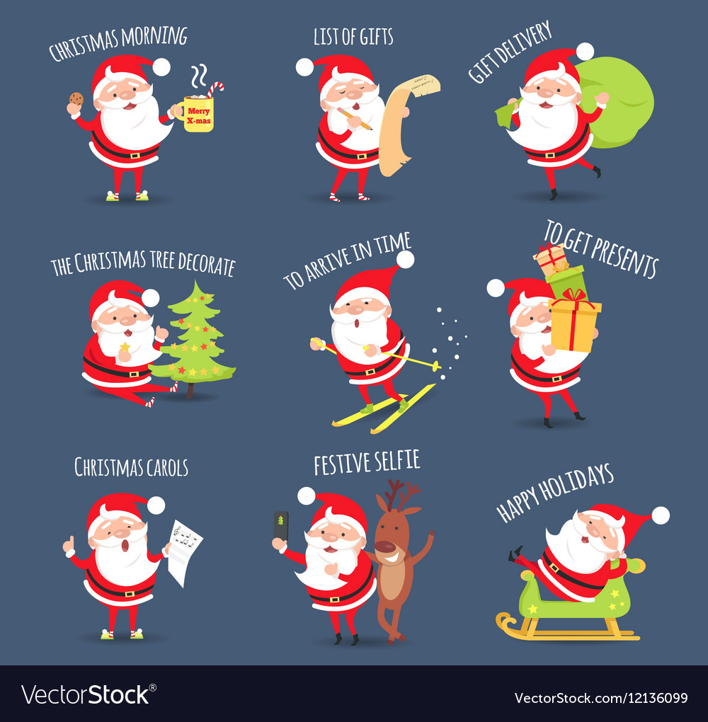 Santa Activities Christmas Happy Holidays vector image