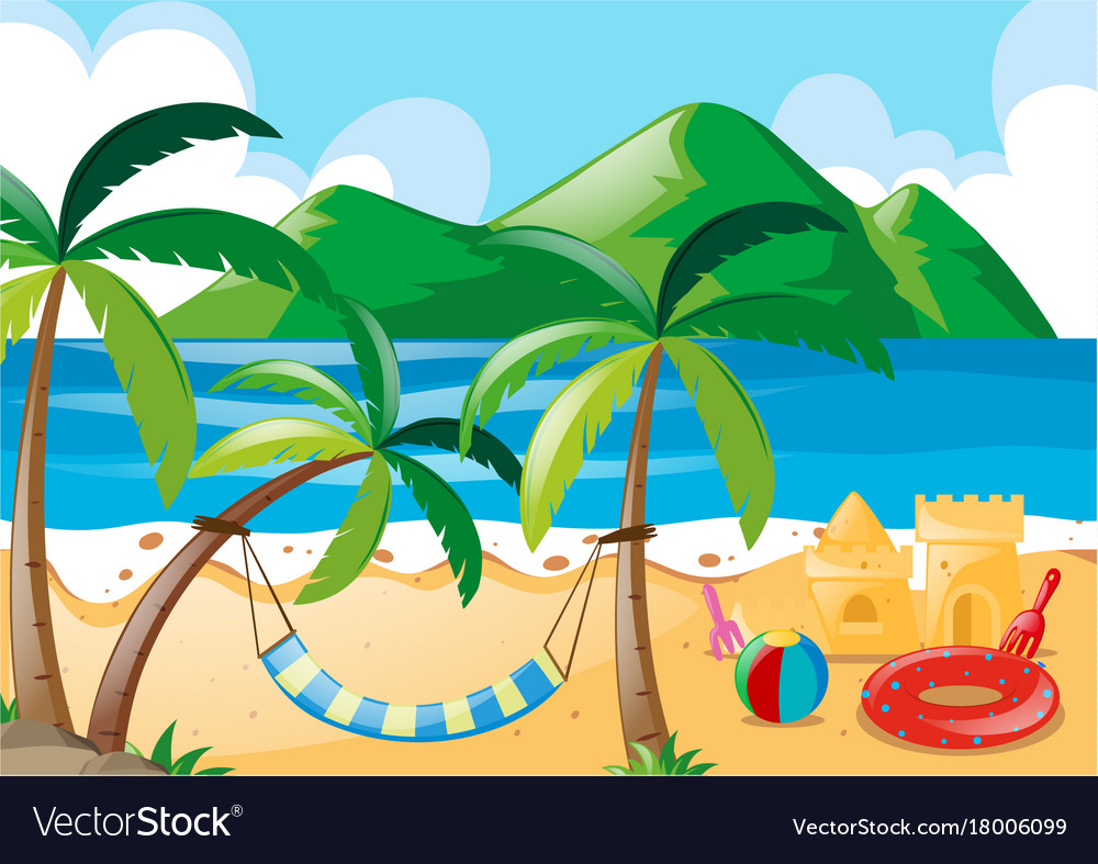 Scene With Beach And Ocean Vector Image
