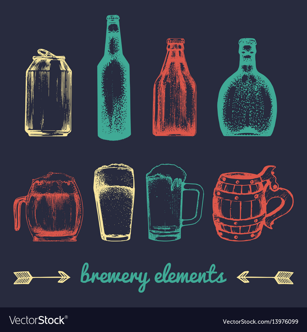 Set of vintage brewery elements collection