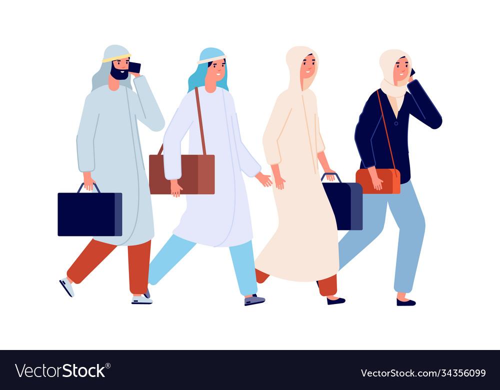 Successful business team arab female working man