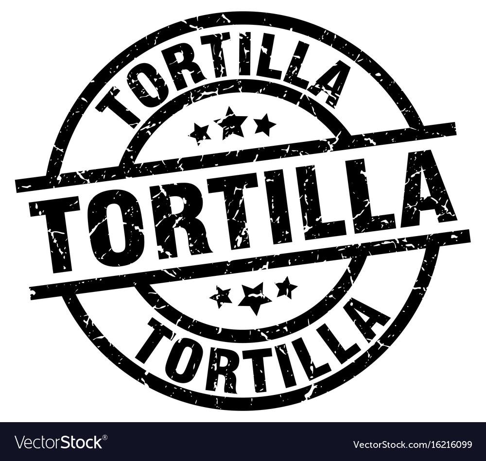 Tortilla round grunge black stamp