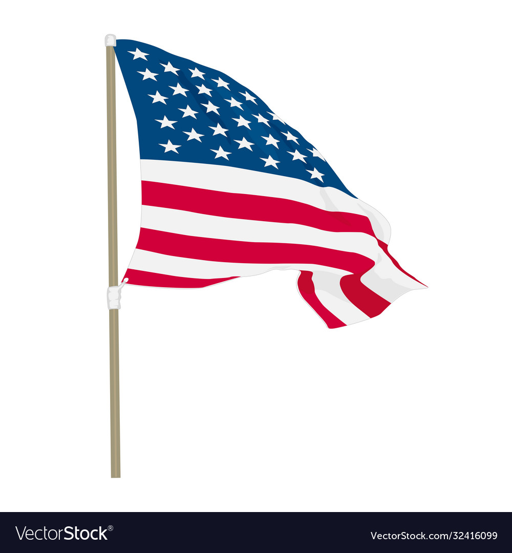 Usa flag waving on wind