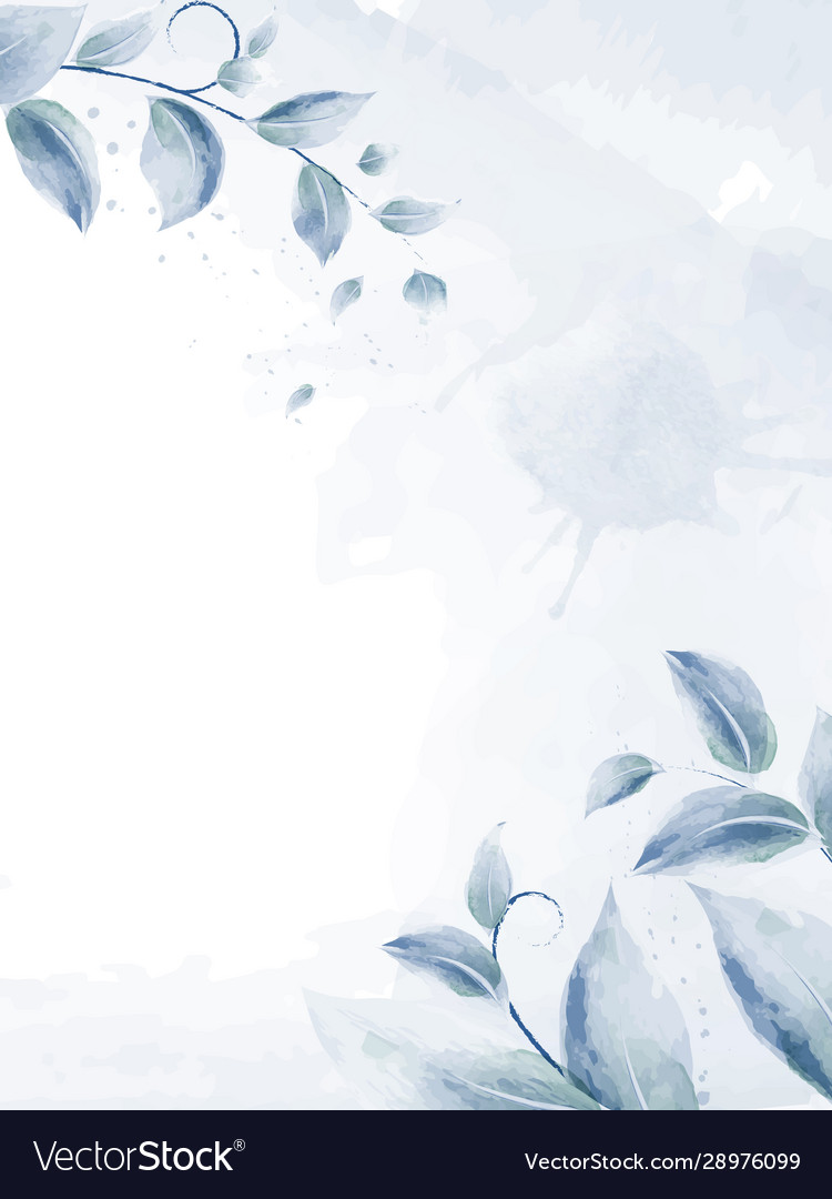 Watercolor design with blue branches leaves