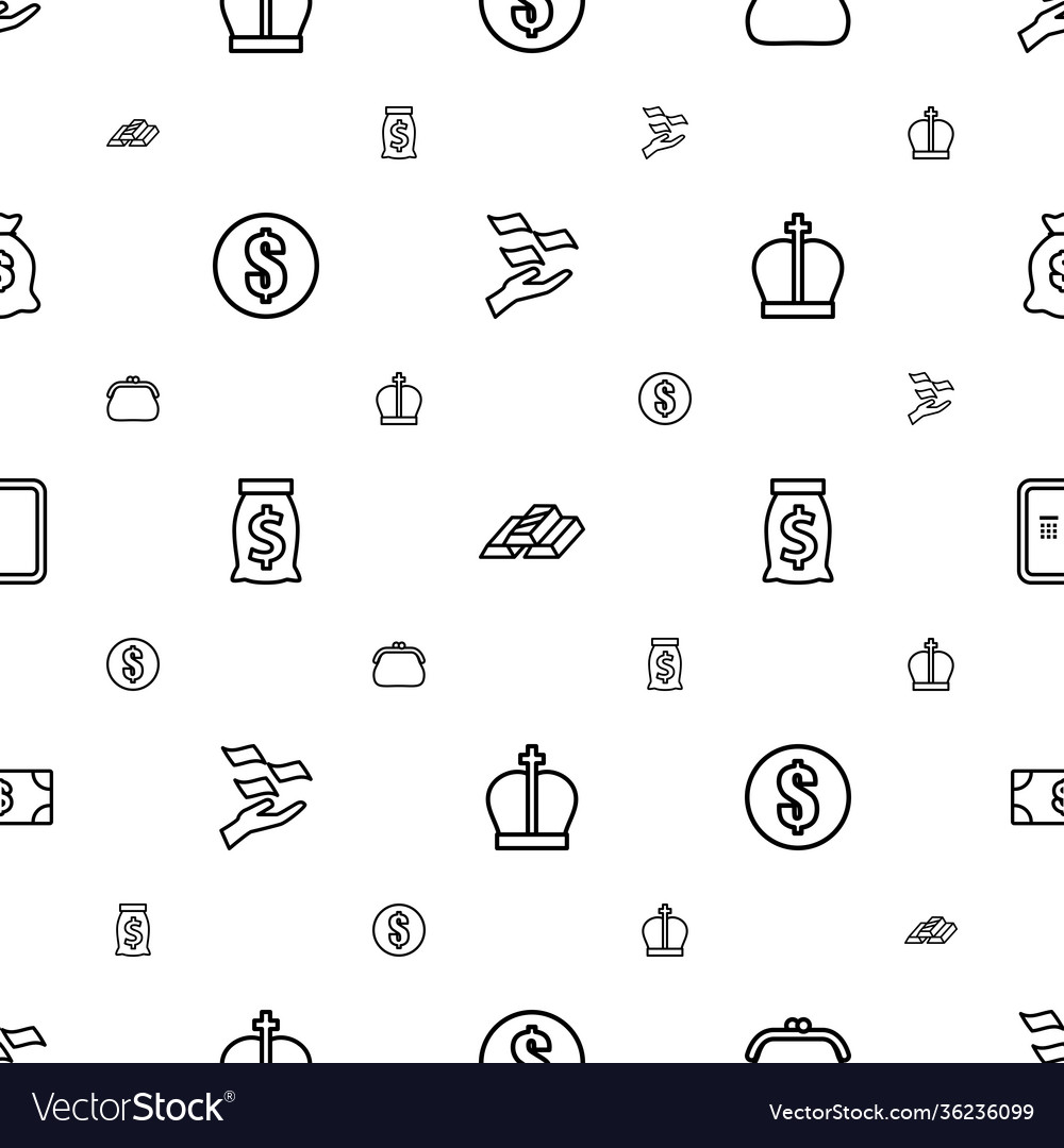 Wealth icons pattern seamless white background