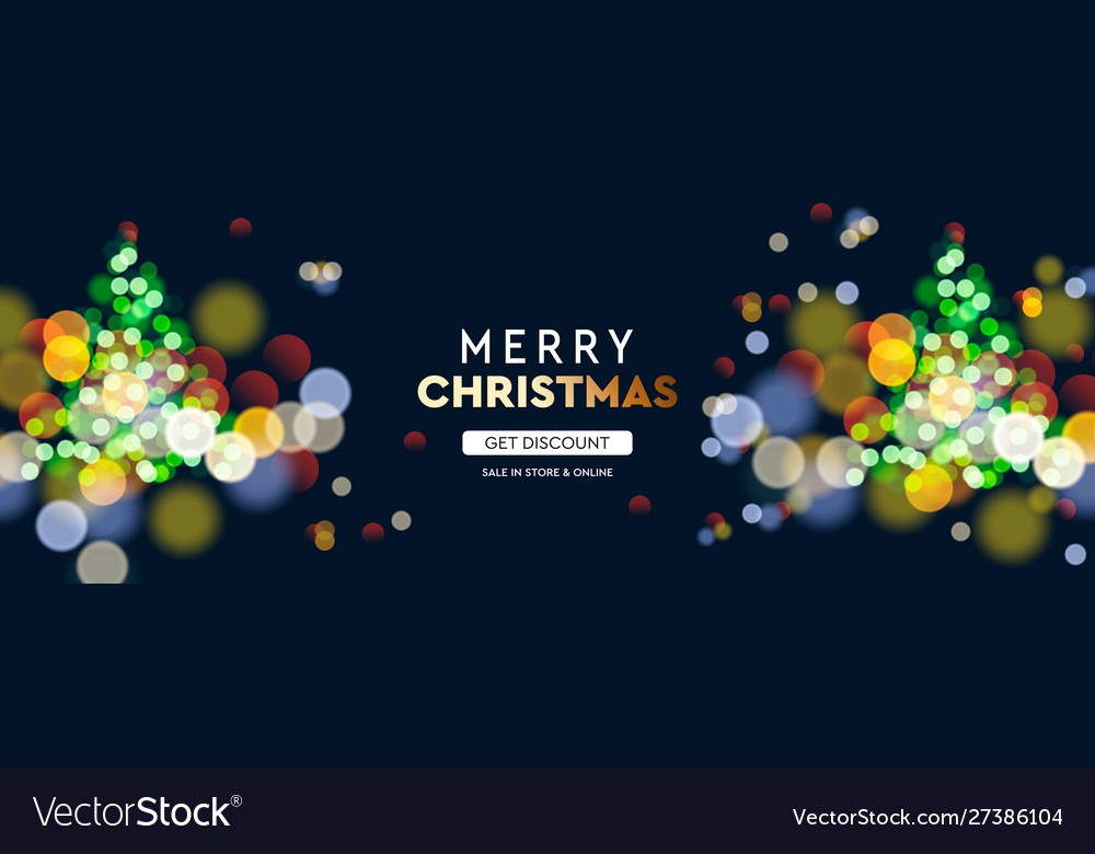 2020 new year christmas tree sparkle blur bokeh vector