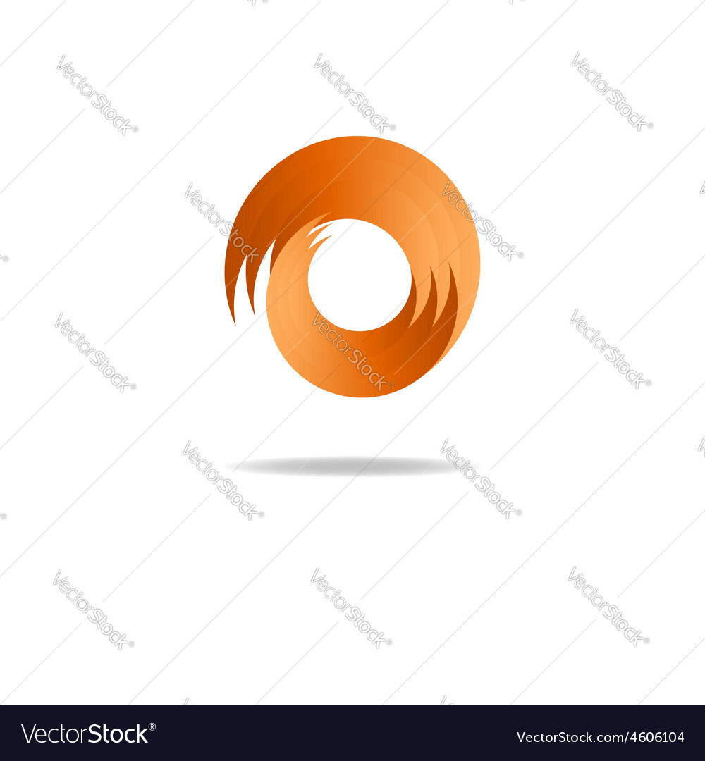 Abstract fire sign logo flame shape