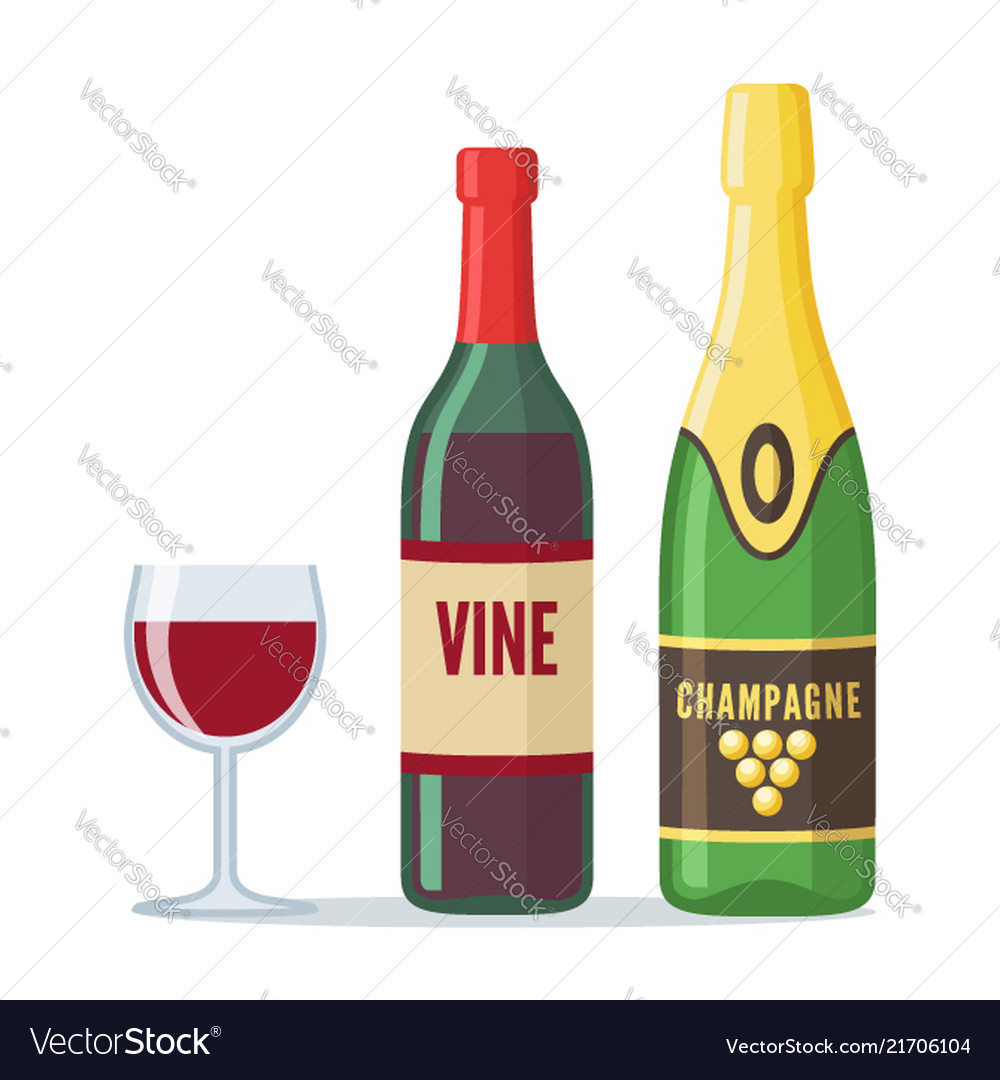 Bottles of red wine and champagne icon in flat