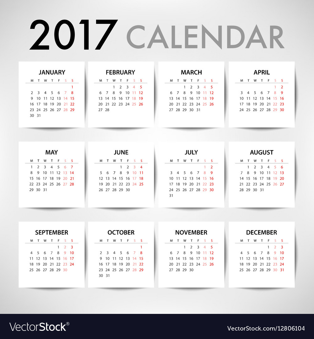 Calendar for 2017 for organization and business