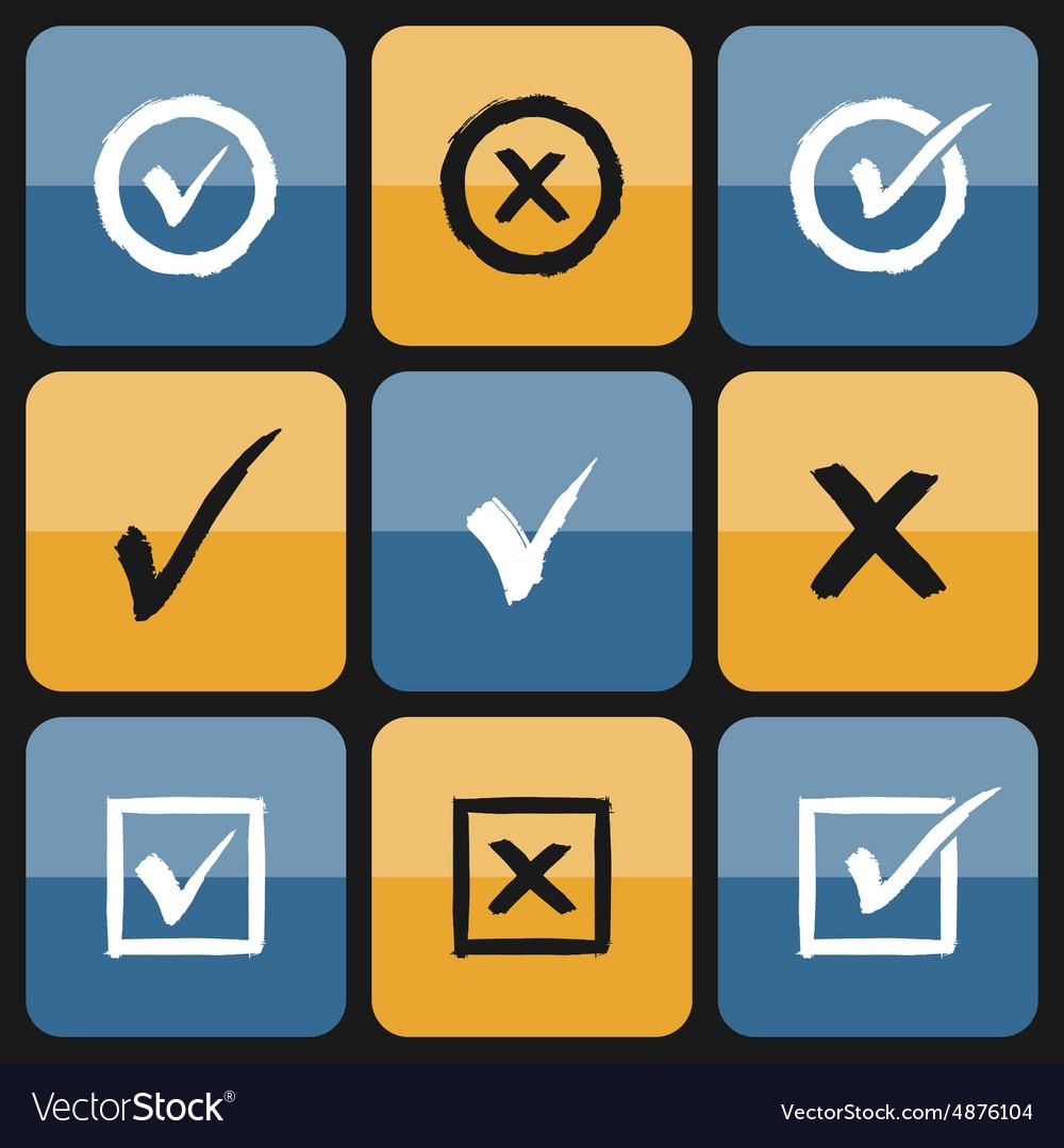 Checkbox Set of hand drawn Icons