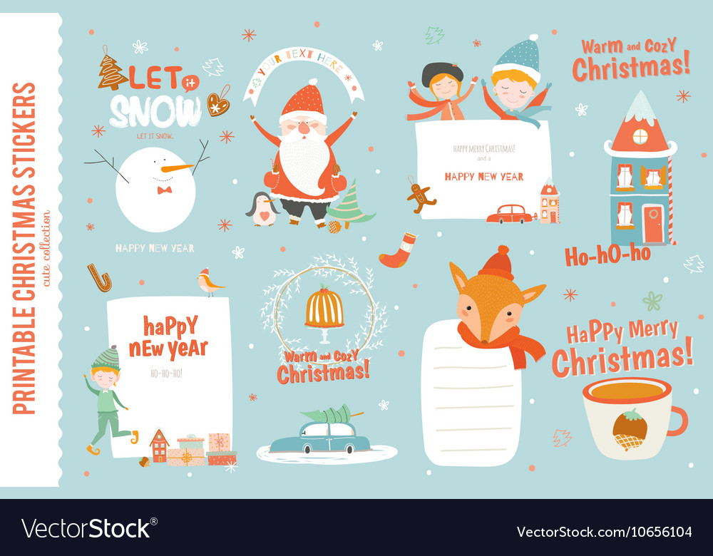 Cute Christmas Cards.Cute Christmas Cards Labels And Stickers