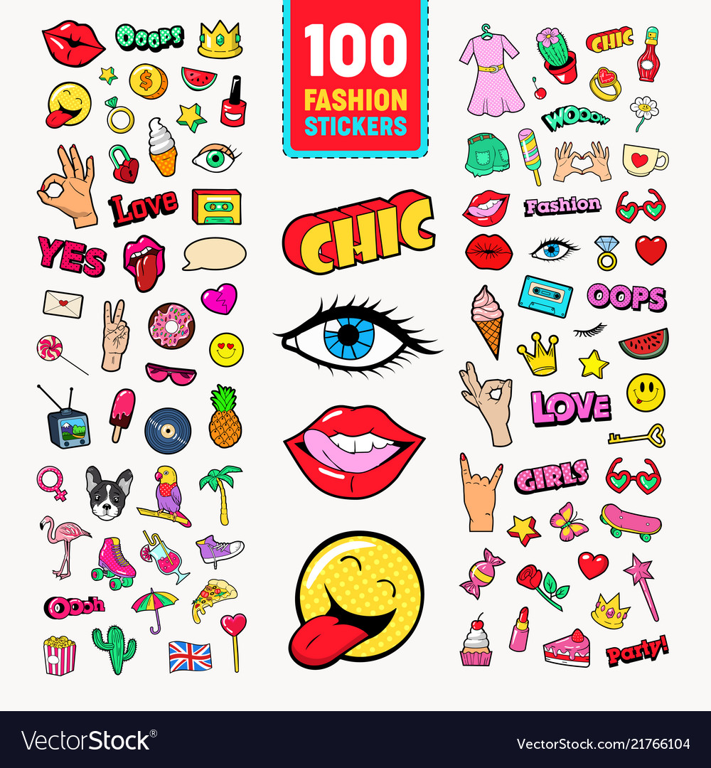Fashion stickers and badges with lips hands