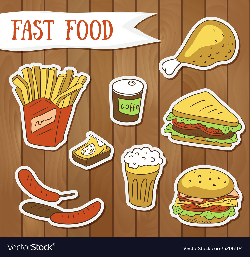 Fast food menu fast food stickers vector image