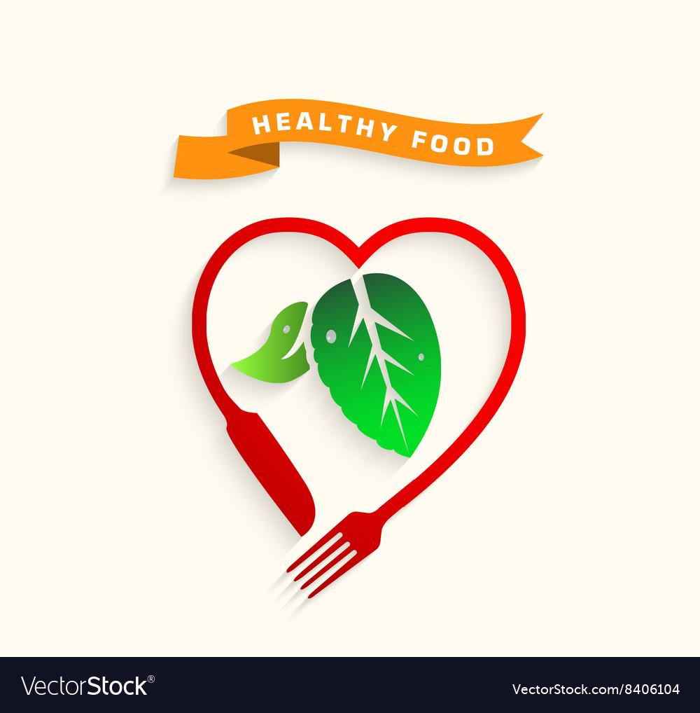 Healthy food icon conceptLove healthy food