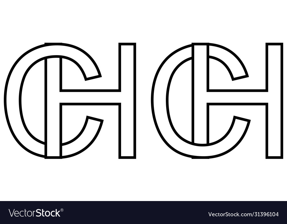 Logo sign hc and ch icon sign two interlaced