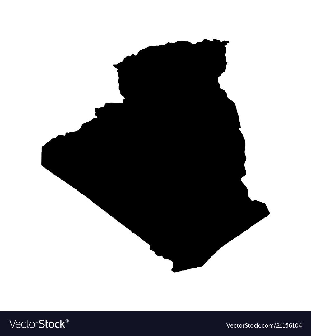 Map algeria isolated black
