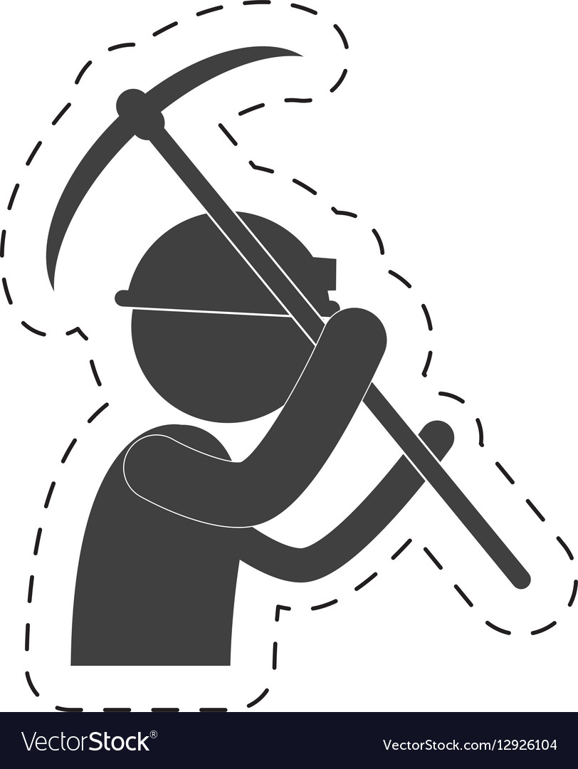 Mining man with helmet pick axe figure pictogram