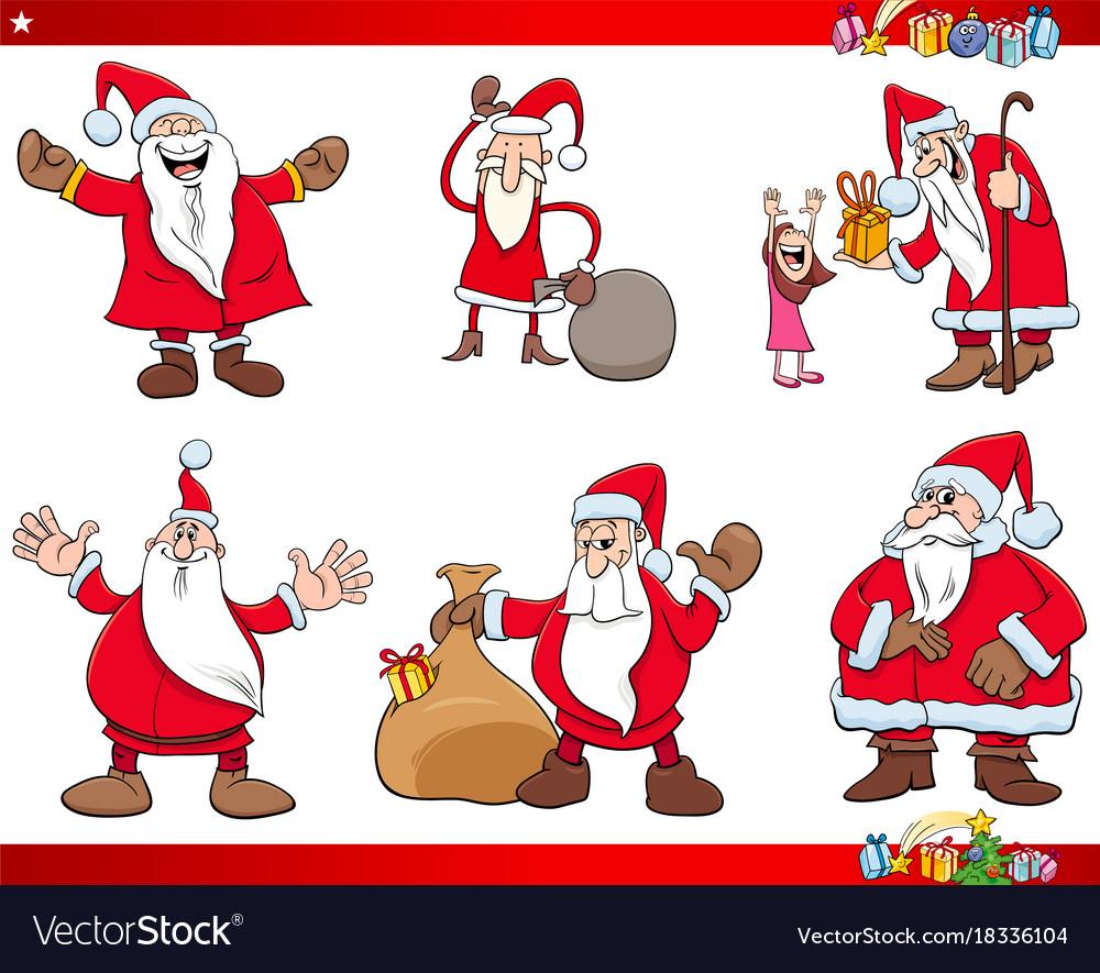 Santa claus christmas characters set vector image