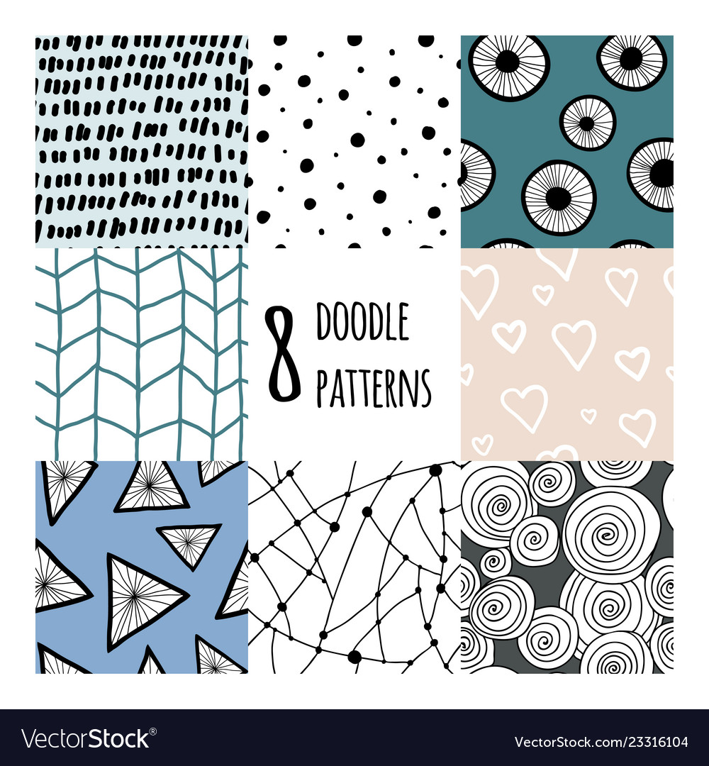 Set with 8 simple minimalistic seamless patterns