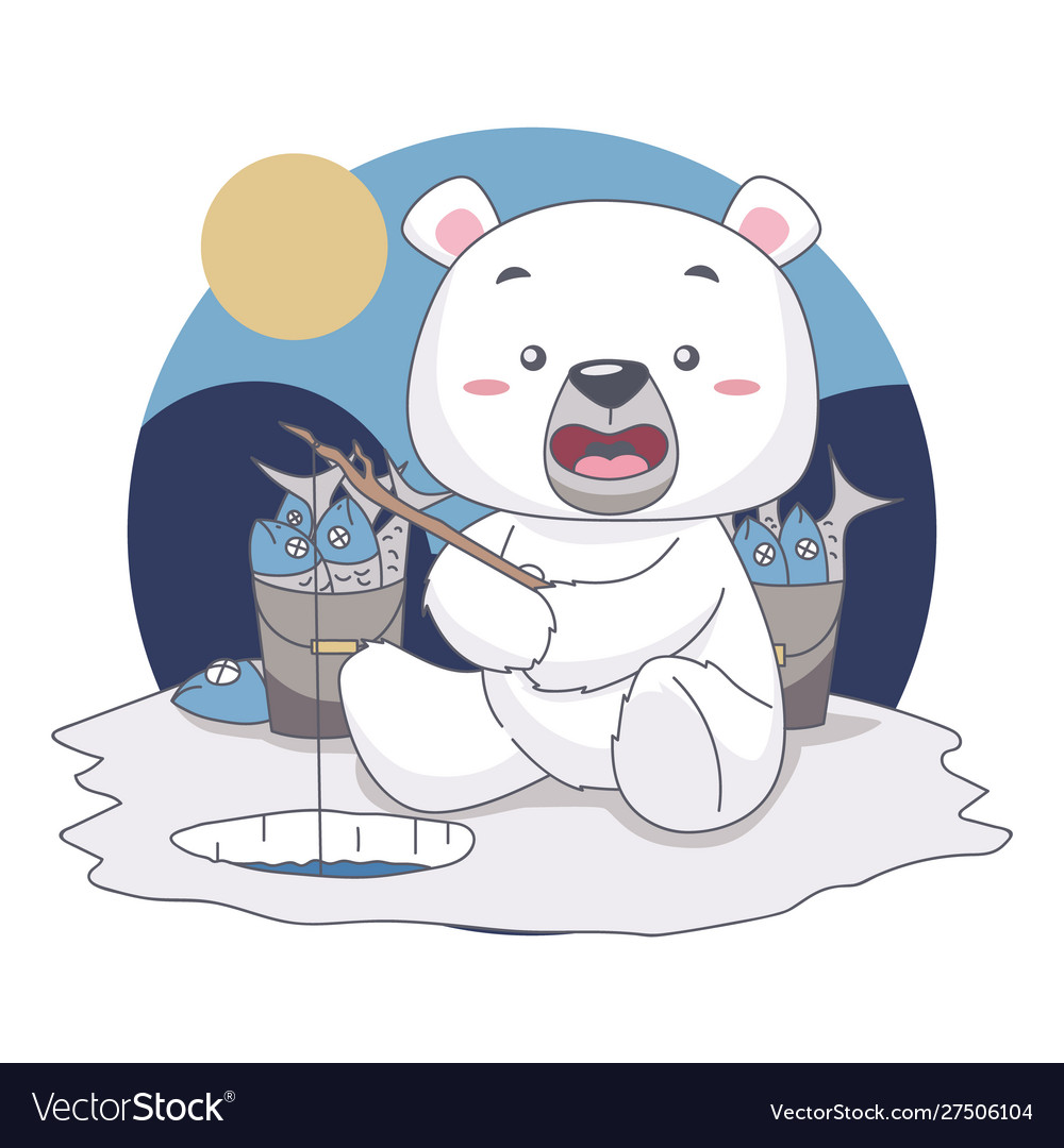 Snow bear fishing want to eat fish in food