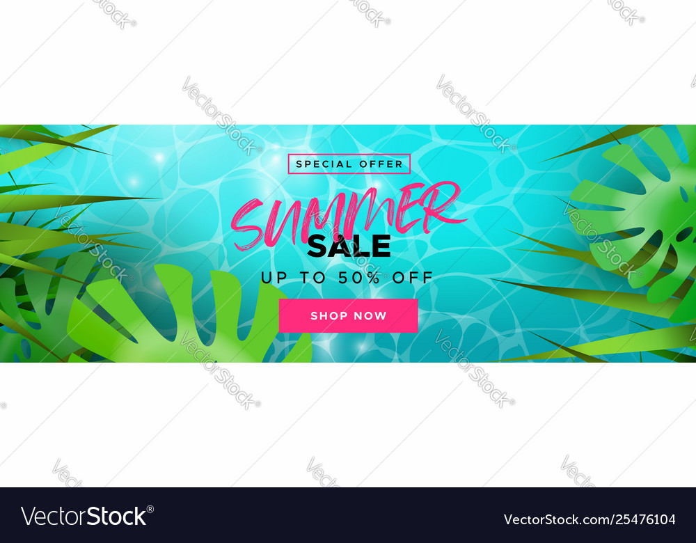 Tropical summer season sale banner for discount