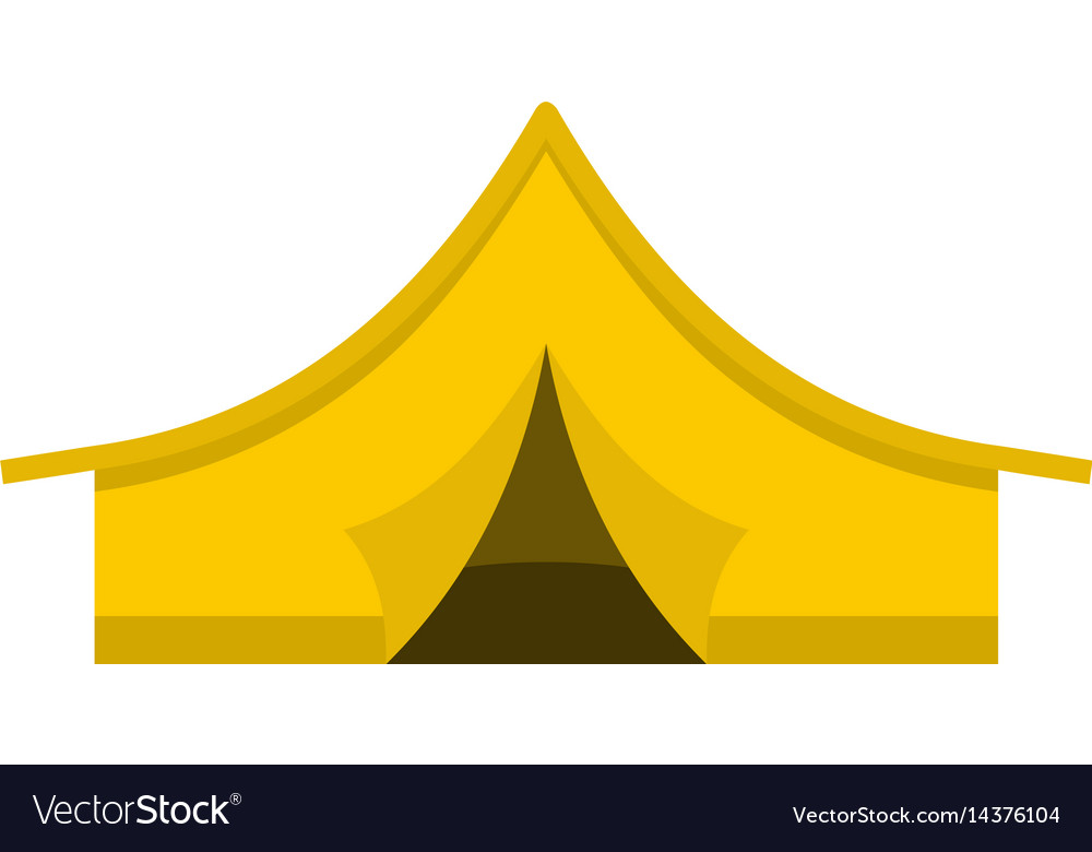 Yellow tourist tent icon isolated
