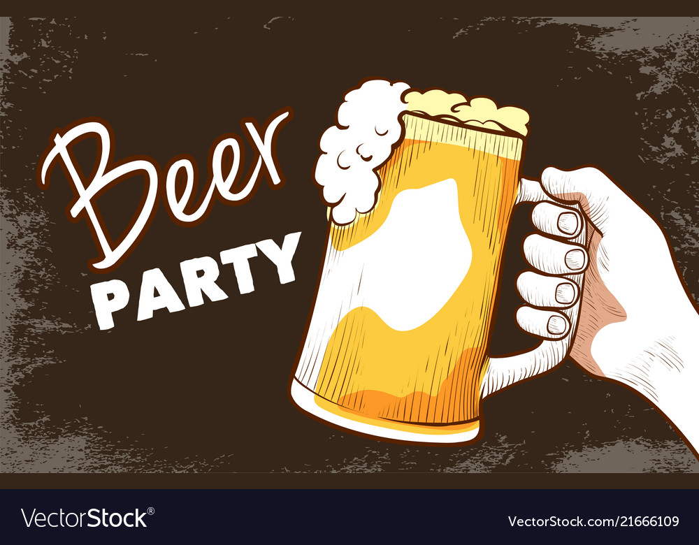 Beer party hand drawn banner
