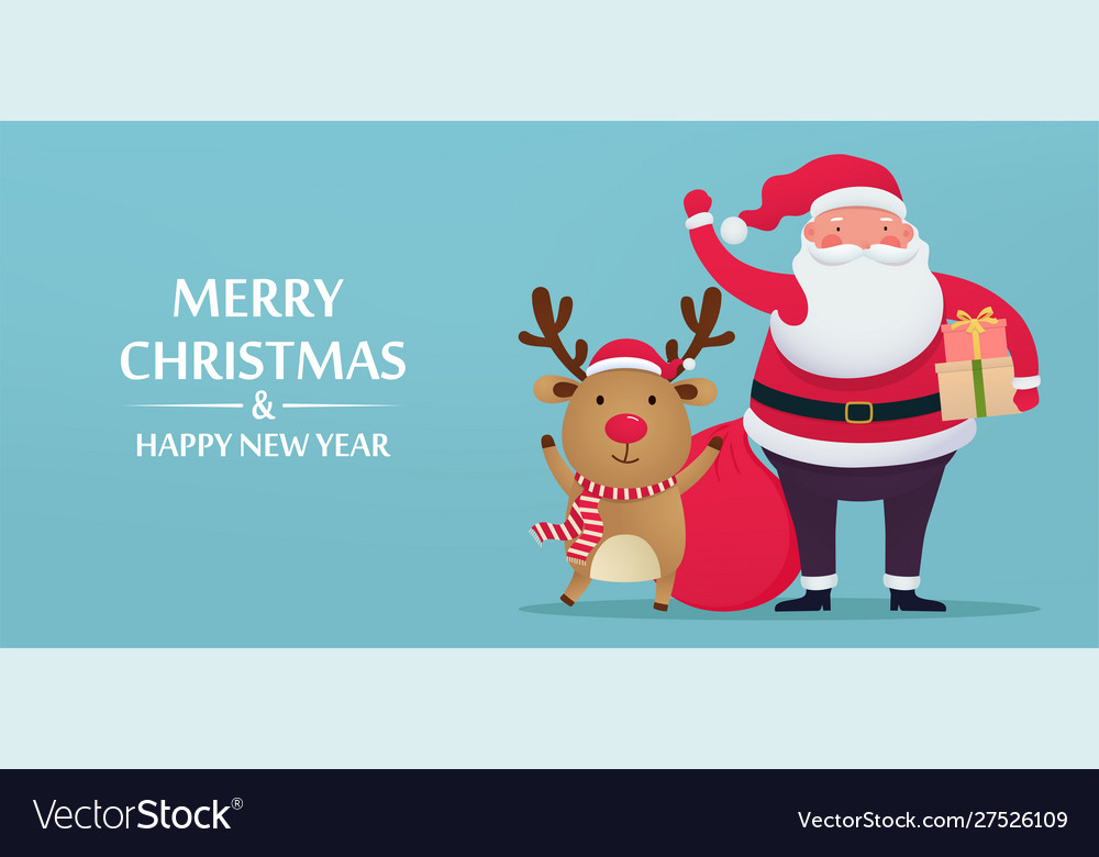 Cute santa claus with deer and gifts greeting