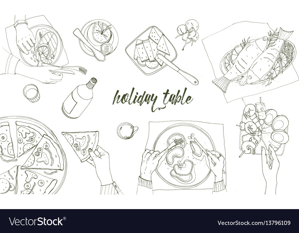 Festive tableful laid table holidays hand drawn vector image