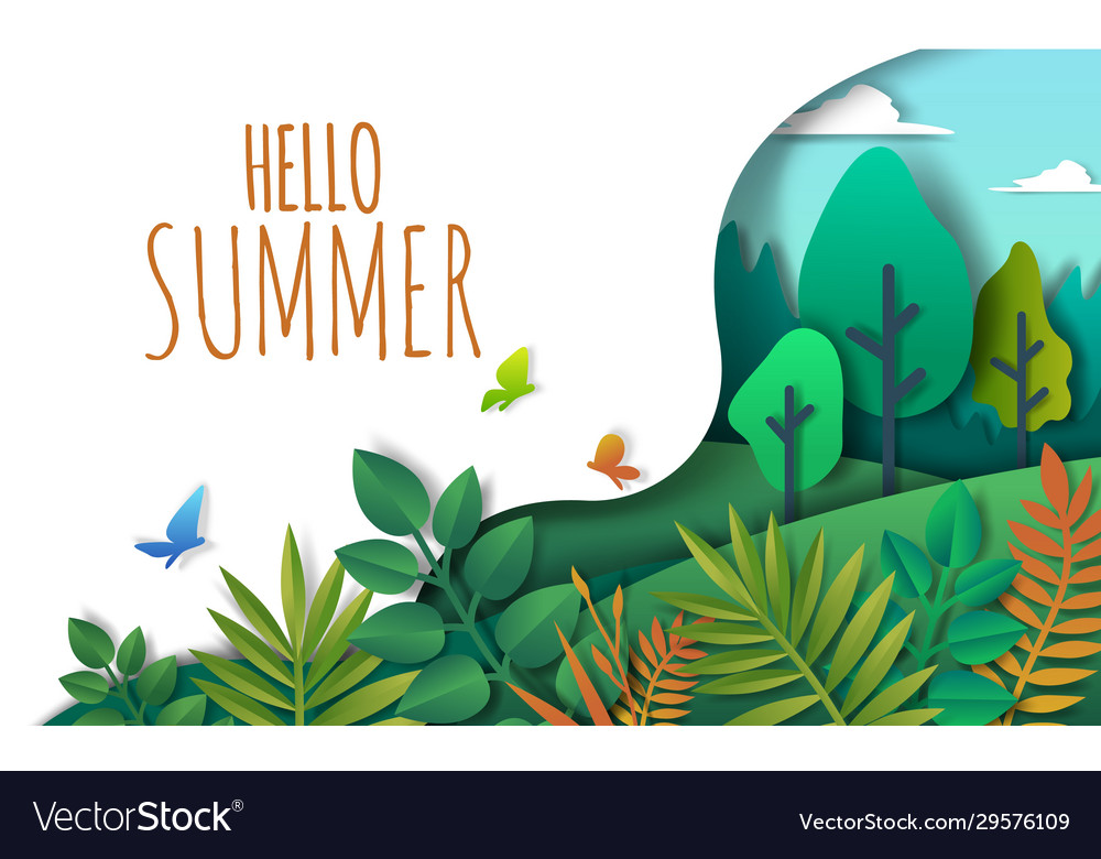 Hello summer paper art style