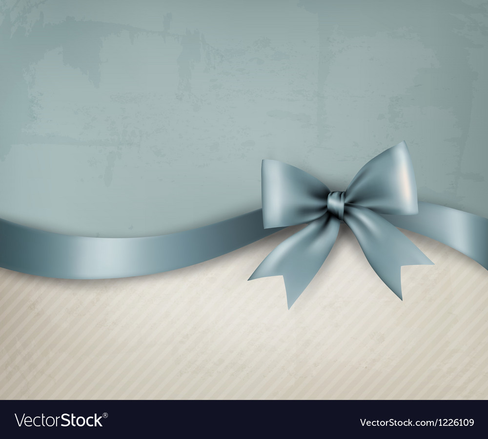 Holiday background with old paper and gift bow and