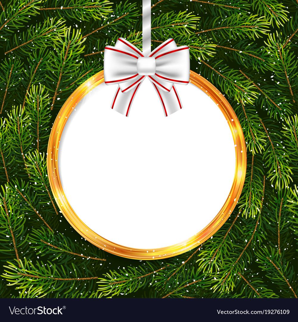 Holiday Gift Card With Christmas Ball And Fir Tree